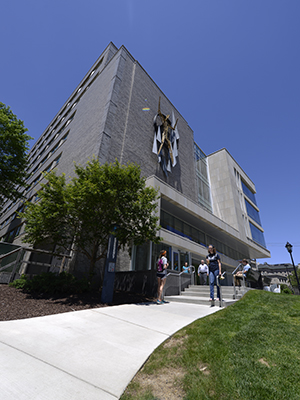 Pitt Public Health exterior with new lab pavilion