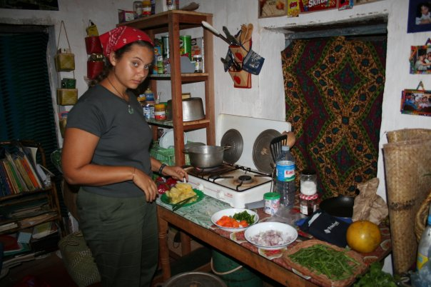In the kitchen of my house. I loved the freshness of my market vegetables.